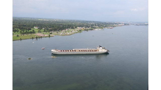 U.S. cargo ship remains stuck in St. Mary's River